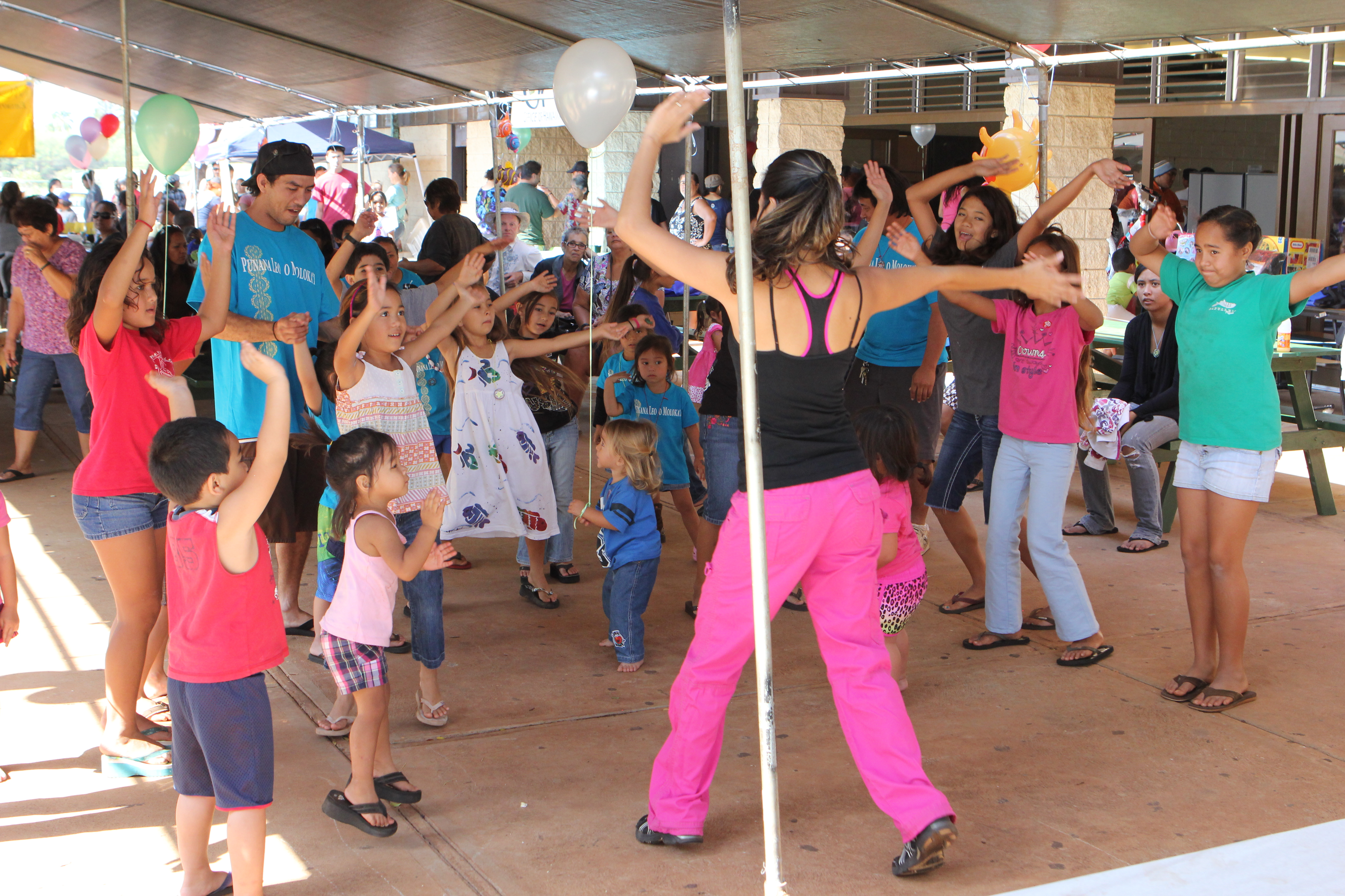 Children dance along for Keiki Zumba at last year&#039;s Molokai Keiki Expo.