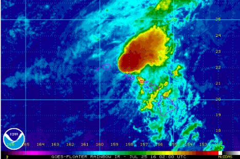 NOAA satellite imagery shows Darby passing the state as of 4pm Sunday