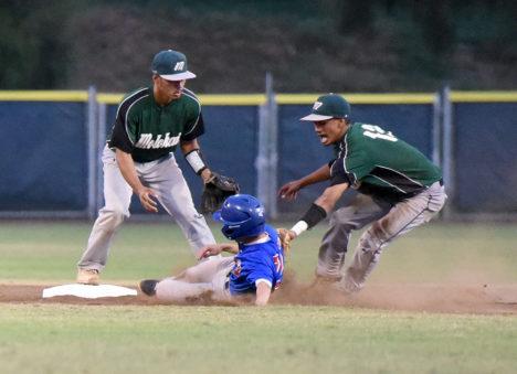Molokai second baseman Kekaiakea Maliu tags out Seabury Hall's Blayde Omura as shortstop Kekaiomalu Adachi looks on in the second inning.